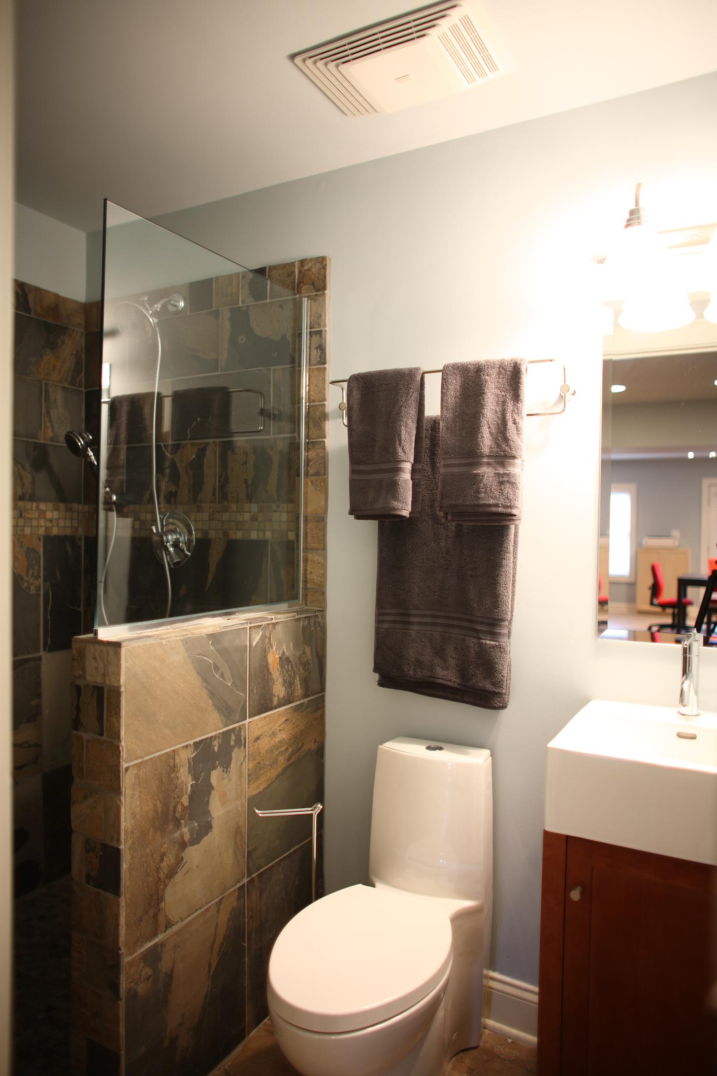 Full bathroom in basement finish