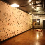 Basement finish in Hoover townhome with the Financial Times as wallpaper