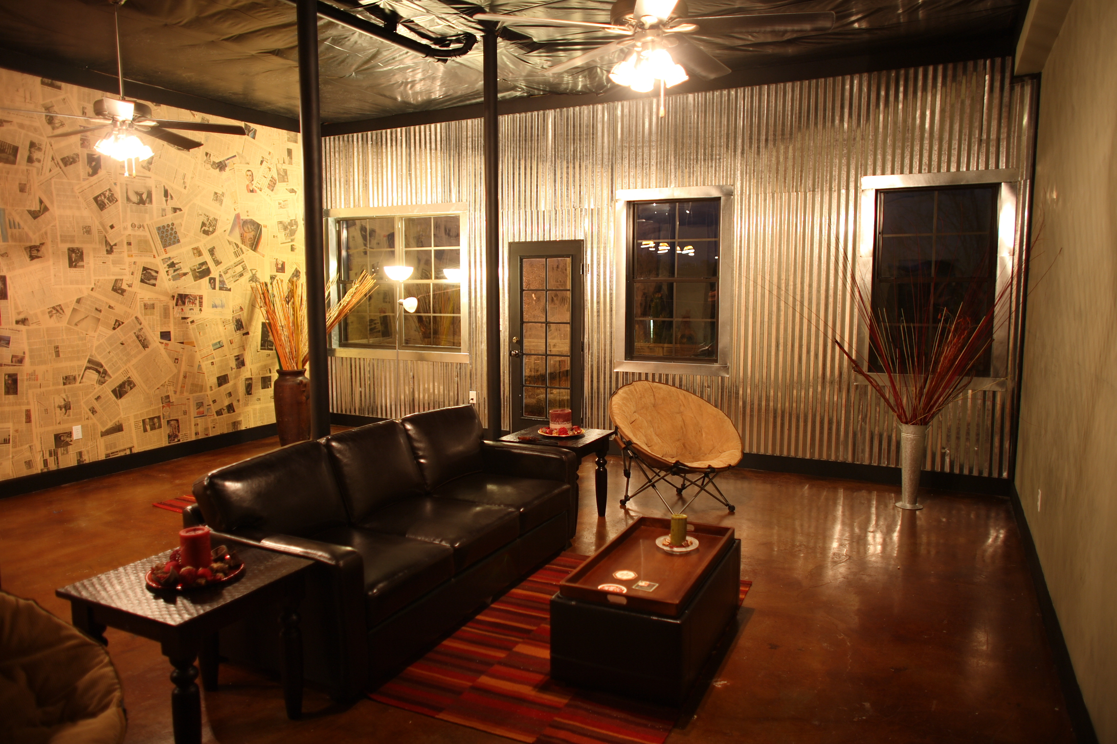 Corrugated metal wall in basement of Hoover townhome