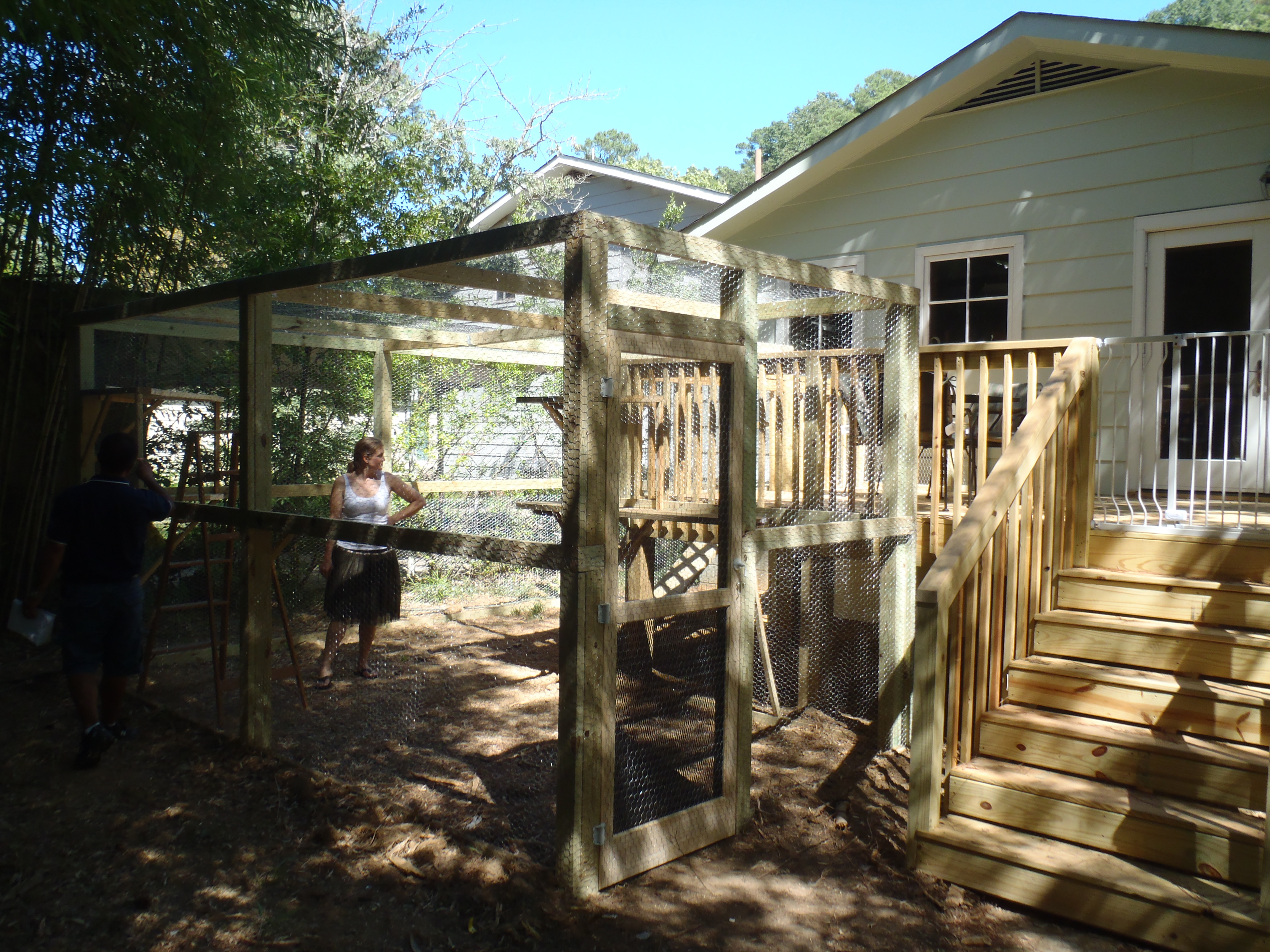 Outdoor cat enclosure and deck of Homewood house