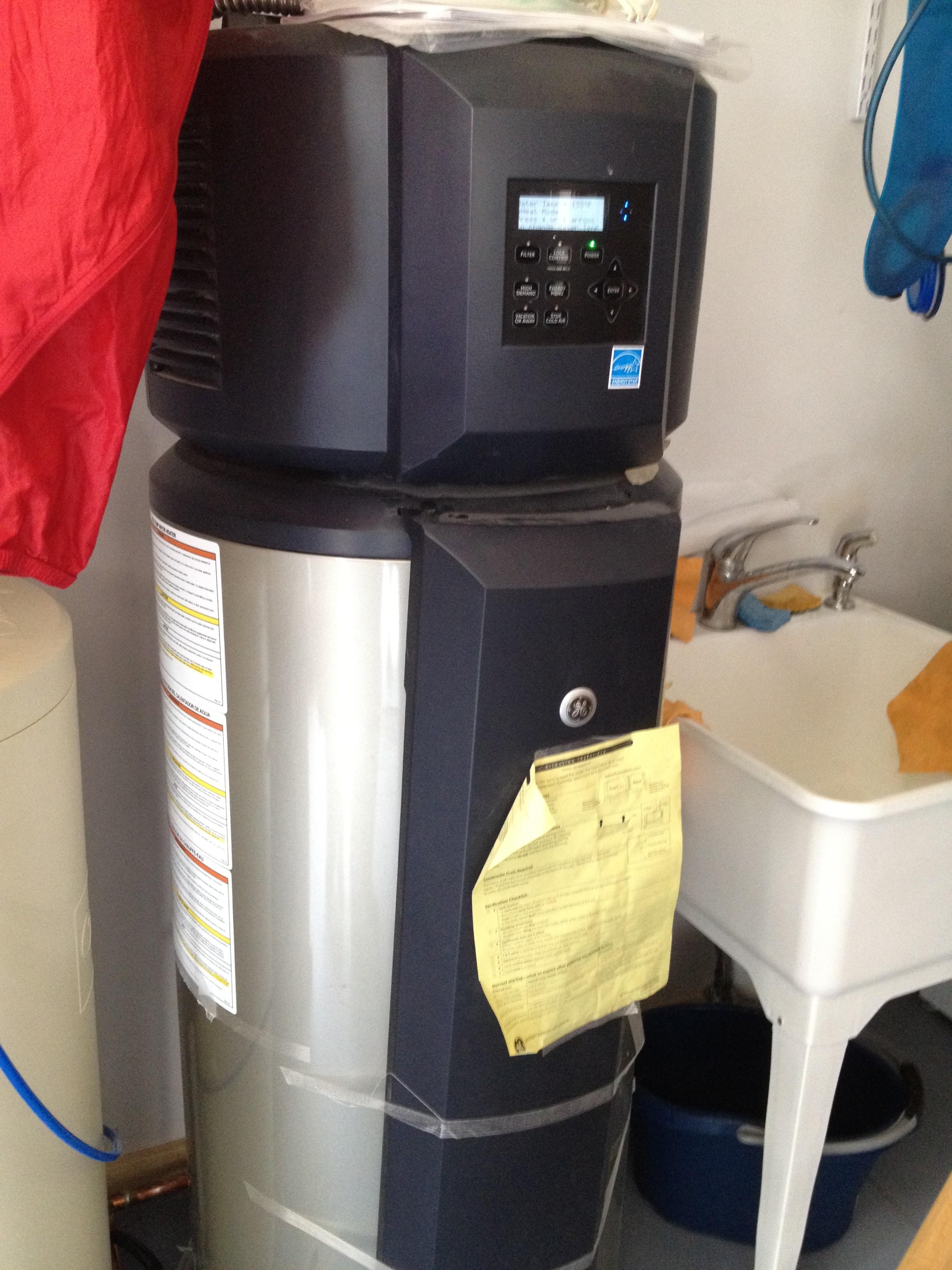 GE heat pump hot water heater in a Boulder Passive House.