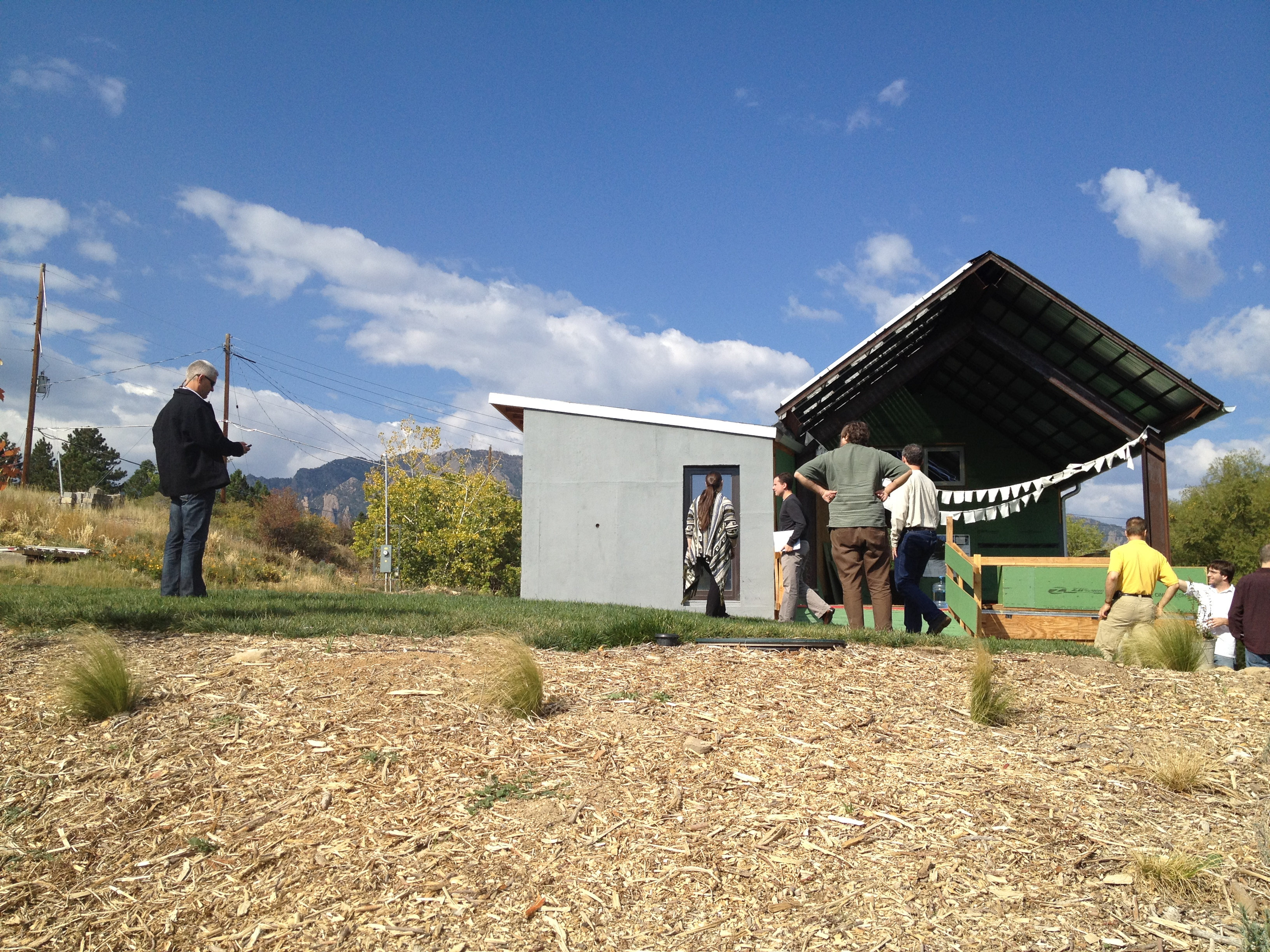 An old mining shack in Boulder that a couple has slowly been turning into a beautiful Passive House.  They had just gotten married in their backyard a few weeks earlier!
